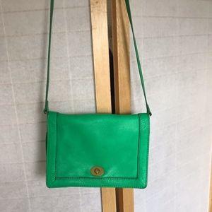 J. Crew cross body bag green leather